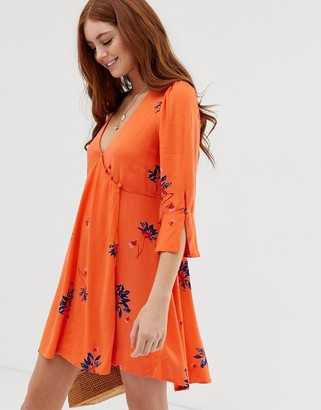 Free People Time On My Side floral print dress-Red
