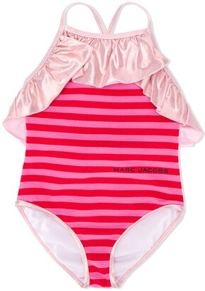 Little Marc Jacobs Frill Trimmed Striped Swimsuit
