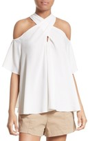 A.L.C. Women's Kayley Silk Cold Shoulder Top