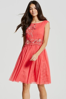Little Mistress Coral Embroidered Mesh Prom Dress