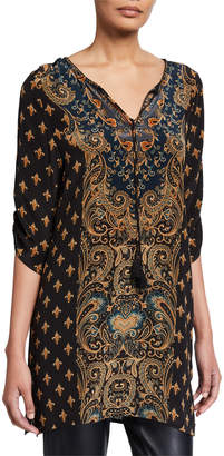 Tolani Sanaya Printed Long Silk Tunic with Tassel