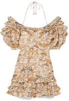 Zimmermann Off-the-shoulder Printed Linen And Silk-blend Mini Dress - Yellow