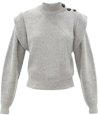 Isabel Marant Peggy Exaggerated-shoulder Cashmere-blend Sweater - Grey