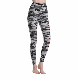 Alvivi Women Girls Camouflage Ripped Hollow Out Elastic Waist Sports Pilates Bodybuilding Leggings Trousers Sweatpants Camouflage Grey XL