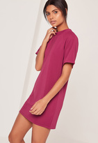 Missguided Short Sleeve Oversized T-Shirt Dress Pink