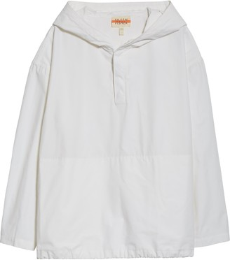 Eileen Fisher Hooded Organic Cotton Blend Jacket