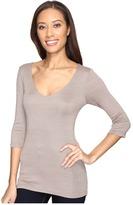 Michael Stars Shine 3/4 Sleeve Double Front V-Neck Women's Long Sleeve Pullover