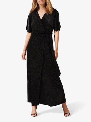 Phase Eight Robynne Sparkle Wrap Dress, Black/Bronze