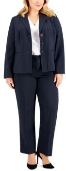 Le Suit Plus Size Three-Button Pantsuit