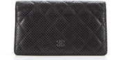 Chanel Black Perforated Leather Quilted Bifold Wallet