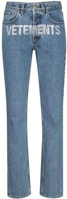 Vetements Logo-Embellished Straight-Leg Jeans