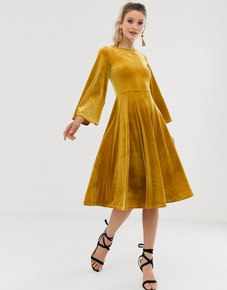 Closet London Closet flared skirt dress-Yellow