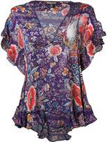 Roberto Cavalli ruffled floral blouse - women - Silk - 38