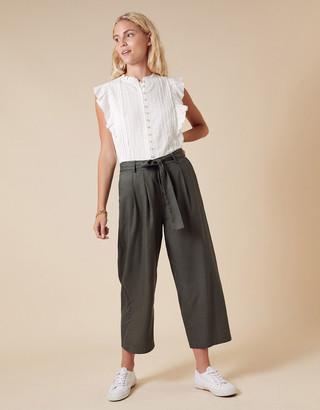 Monsoon Elizabeth Embroidered Jersey Sleeveless Shirt Ivory