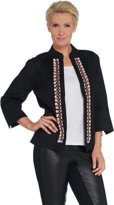 Susan Graver GRAVER Embellished Linen Twill Jacket