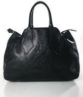 Vivienne Tam Black Leather Gold Tone Zip Top Tote Handbag