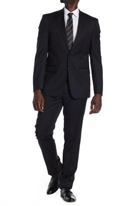 Calvin Klein Navy Wool Two Button Notch Lapel Suit