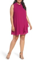 Vince Camuto Plus Size Women's Ruffle Chiffon Shift Dress