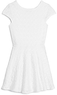 Aqua Girls' Textured Cap-Sleeve Fit-And-Flare Dress, Big Kid - 100% Exclusive
