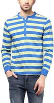 American Crew Striped Henley Full Sleeves T-Shirt - M (AC231-M)