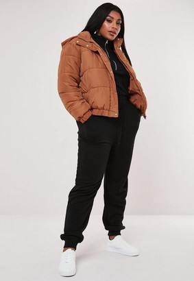 Missguided Plus Size Tan Hooded Puffer Jacket