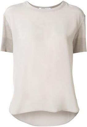 Agnona fine knit panelled T-shirt
