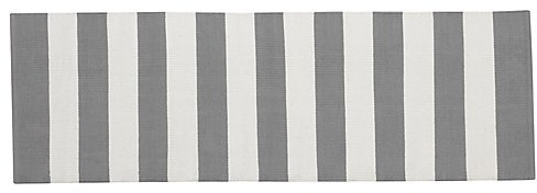 Crate & Barrel Olin Grey Striped Cotton Dhurrie 2'x6' Rug Runner