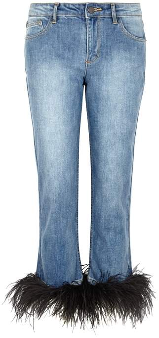 Alice + Olivia Tasha Feather-trimmed Cropped Jeans