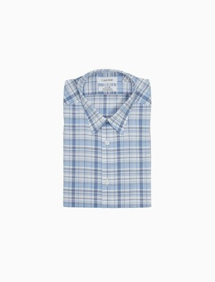 Calvin Klein Slim Fit Plaid Performance Non-Iron Dress Shirt