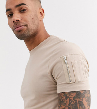 BEIGE Asos Design ASOS DESIGN Tall skinny t-shirt with curved hem and MA1 pocket in