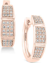 Effy Pavé Rose by Diamond Hoop Earrings (1/4 ct. t.w.) in 14k Rose Gold