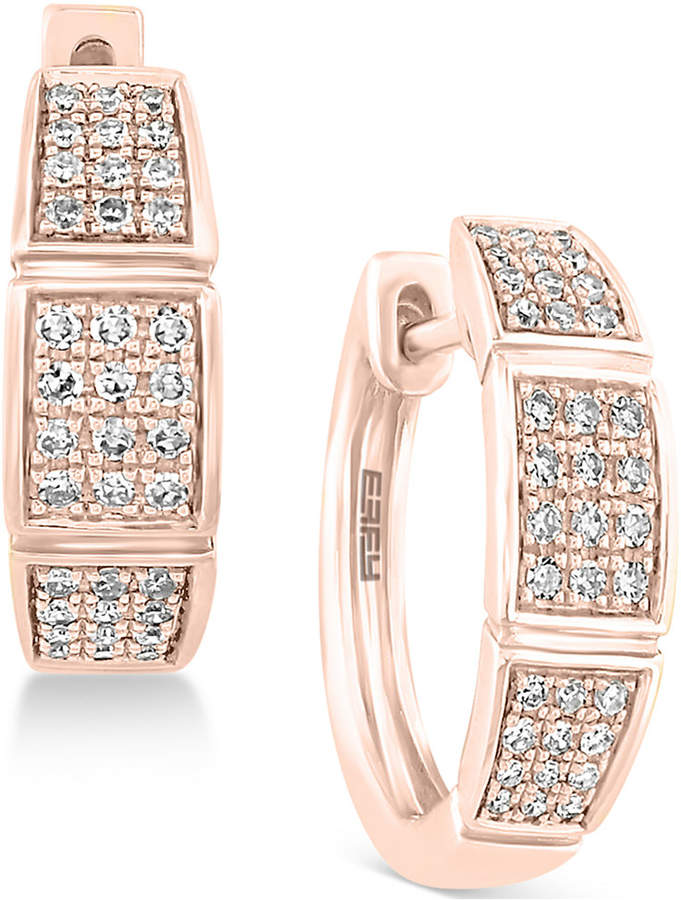Effy Pave Rose by Diamond Hoop Earrings (1/4 ct. t.w.) in 14k Rose Gold