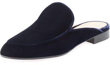 Gianvito Rossi Palau Velvet Flat Loafer Mule