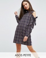 Asos Cold Shoulder Check Shirt Dress with Bow Detail