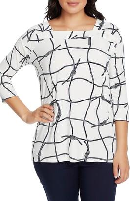 Chaus Nautical Ropes Button Shoulder Shirt