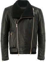 Balmain leather biker jacket - men - Cotton/Lamb Skin/Acrylic/Wool - 48