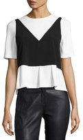 Moschino Short-Sleeve 2-in-1 Combo Popover Blouse, Black