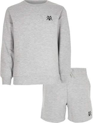 River Island Boys grey marl RVR sweatshirt outfit