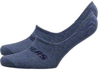 Skechers Two Pack Basic Footie Socks Denim Melange
