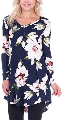 Brooke & Emma Women's Tunics ST84 - Navy & Sage Floral Long-Sleeve Tunic - Women & Plus