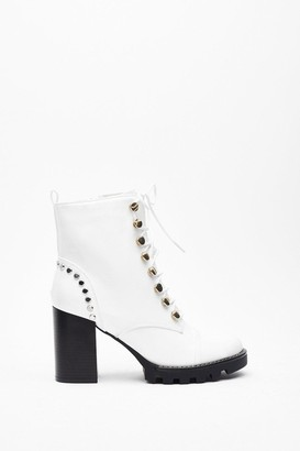 Nasty Gal Womens Stand Back Studded Heeled Boots - white - 3