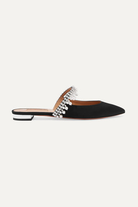 Aquazzura Exquisite Crystal And Faux Pearl-embellished Grosgrain Slippers - Black