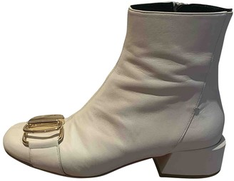 Tibi White Leather Ankle boots