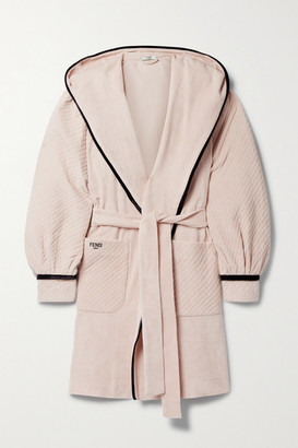 Fendi Hooded Belted Velour-trimmed Cotton-terry Robe - Blush