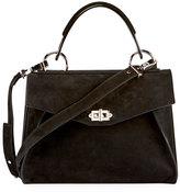 Proenza Schouler Hava Medium Nubuck Top-Handle Satchel Bag, Black