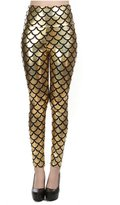VOULOIR Women's Shiny Fish Scale Mermaid Printing Full Length Leggings Pants