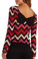 Charlotte Russe Sheer Chevron Bow-Back Crop Top