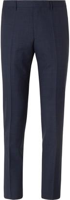 HUGO BOSS Grey Giro Slim-Fit Checked Virgin Wool Suit Trousers