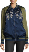 Max Studio Japanese Floral Embroidered Bomber Jacket, Navy