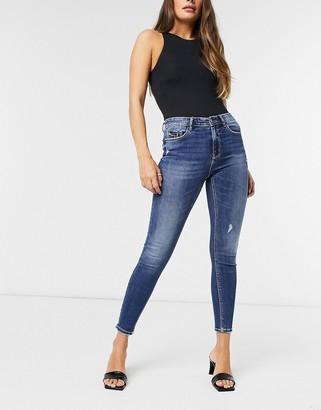 Stradivarius high waist skinny jean in dark wash